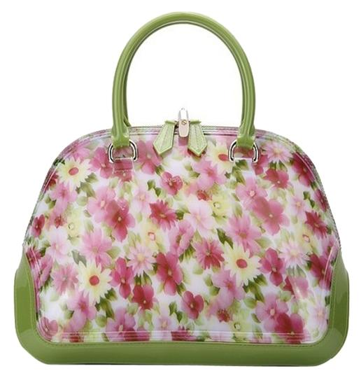 SABOHEMIAN Satchel in Green/ Pink Flowers