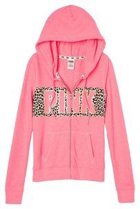 PINK Victoria's Secret Perfect Zip Leopard Slim Fit Sweatshirt