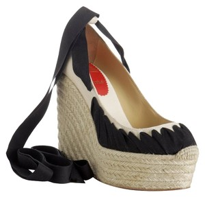 Christian Louboutin Ibiza Navy, cream Wedges