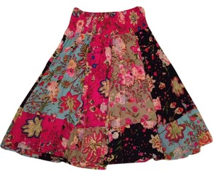 Rivaya Bohemian Casual Boho Boho Chic Floral Flowy Summer Fall Patchwork Patchwork Floral Fesitval Comfortable Skirt Multi-colored