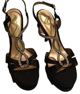 Nina Cushioned Dressy Heals Black Rhinestone Straps New Sandals