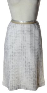 St. John Plaid Stretch Knit Skirt Ivory