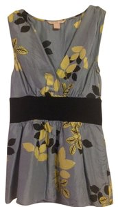 Anthropologie Silk Floral Sleeveless Top Blue Floral