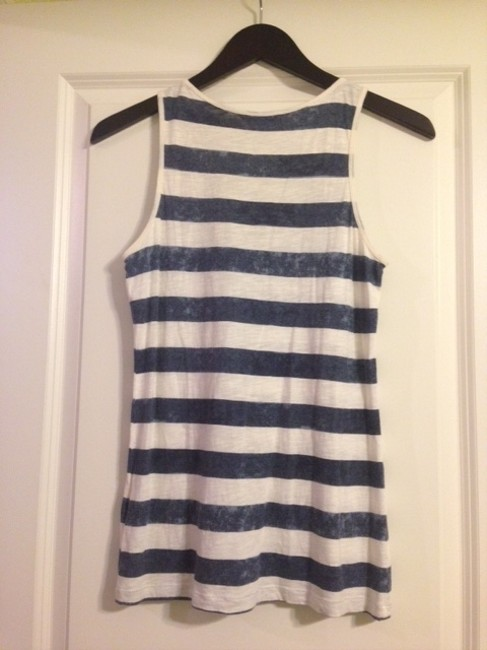 Banana Republic Machine Washable Casual Bold Stripe Top Navy and White