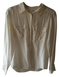 J.Crew Cream Collar Silk Button Down Shirt White/Cream