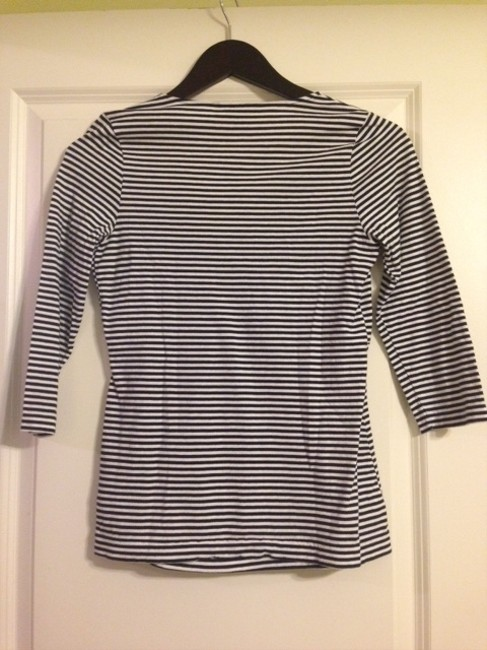 Banana Republic Empire Waist Cotton T Shirt Navy and White stripe