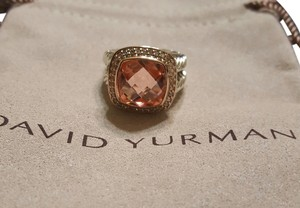 David Yurman David Yurman 11mm x 11mm Albion Ring with Rose Gold, Morganite and Diamonds