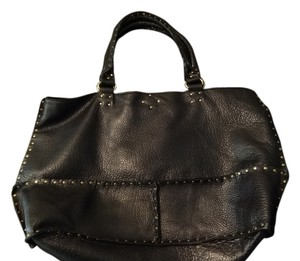 Linea Pelle Leather Studded Carryall Tote in black