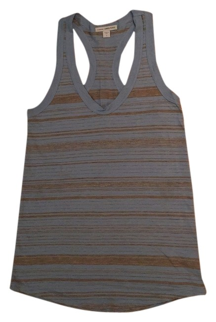 James Perse Racer-back Scoop Neck Top Blue and gray stripes