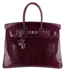 Hermès Hermes Crocodile Palladium Satchel in Purple