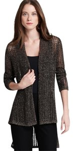 Eileen Fisher Metallic High Low Sparkle Linen Cardi Cardigan