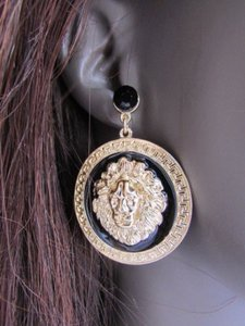 Other Women Lion Face Head Round Earnings Gold Black Metal Fashion Studs Dangle