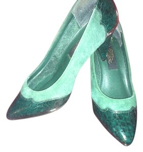 Status Collection Vintage Leather Green Pumps