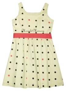 Garnet Hill short dress Coral, Navy, Beige Polka Dot on Tradesy