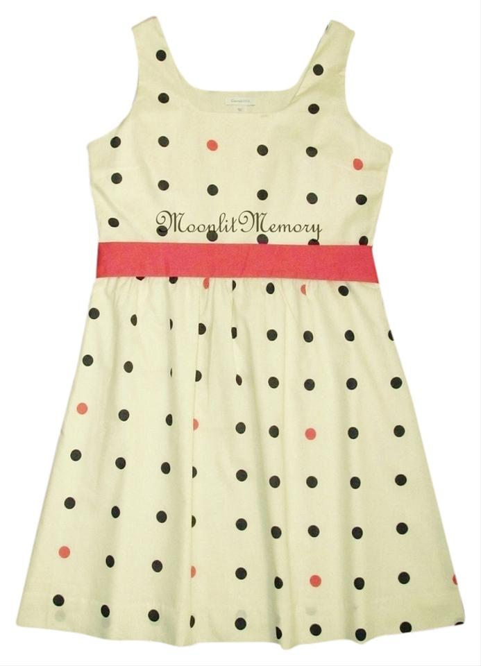Garnet Hill Coral Navy Beige New M Retro 50s Polka Dots