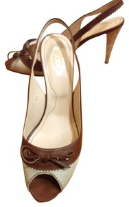 Tod's Peep Toe Slingback Heels Canvas Stacked Heel Brown/Beige Pumps