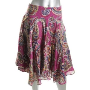 Ralph Lauren Womens Paisley Lined Below Knee Ruffled Flare Pm Skirt Multi-Color