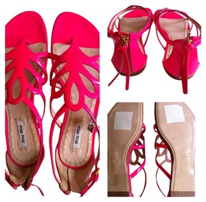 Miu Miu Patent Leather Hot Pink Sandals