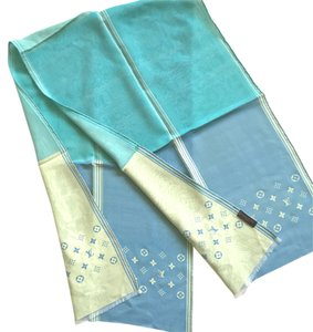 Louis Vuitton Louis Vuitton baby Blue/Tilt/Turquoise/light pistachio Block Reversible Double Layer Stole Silk Scarf. SALE!!!
