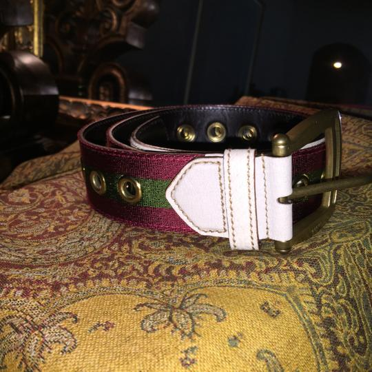 Gucci Authentic Gucci Leather and Classic Green and Red Canvas Size 38 Belt