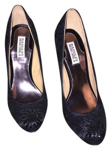 Badgley Mischka Pump Beaded Black Lace and Beading Pumps