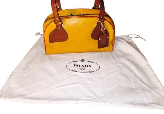 Multicolor Browns Leather Shoulder Bag by Prada