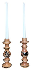 Kenyan Carved Stone Candlesticks; Kisii Stone (Soapstone) Set of 2 [ SisterSoul Closet ]