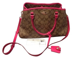 Coach Margot Carryall Small Satchel in Khaki/ Ruby Pink