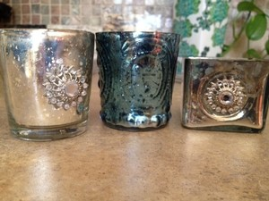 Silver Mercury Glass Style Votive/Candle