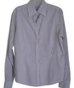 Brooks Brothers Button Down Shirt White and Dark blue stripes