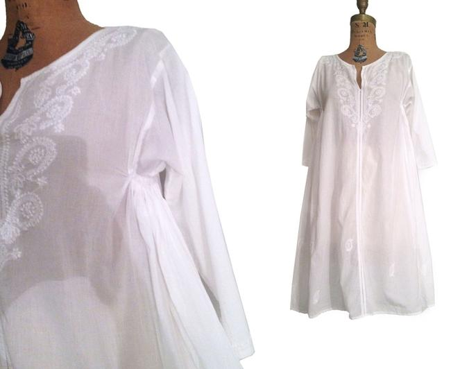 Preload https://item3.tradesy.com/images/white-light-weight-cotton-embroidered-mini-dress-tunic-size-4-s-4492432-0-0.jpg?width=400&height=650