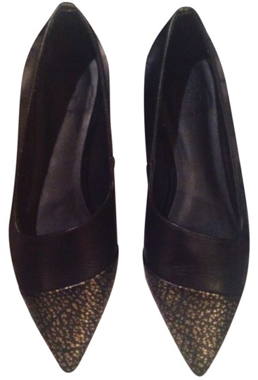 Tibi Black and Gold Flats