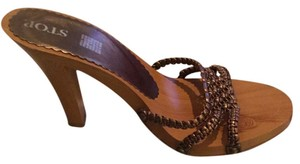 Qupid Copper Braiding Wooden Sandals