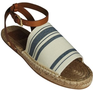 Tory Burch Strip Awning Ivory Blue Haven/Royal Tan 184 Sandals