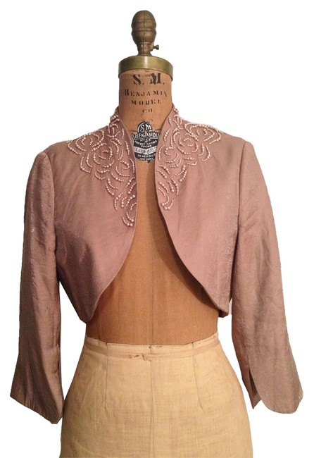 Item - Brown W Cropped Bolero Jacket Floral Pearl Motifs At Collar Poncho/Cape Size 10 (M)