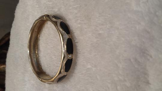 Other Beautiful Crystal Accent Bangle Bracelet Black and Gold