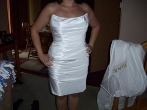 David's Bridal White Silk Sexy Wedding Dress Size 12 (L)