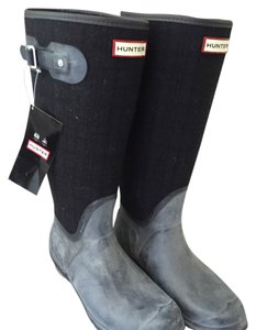 Hunter grey and black (black wool plaid) Boots