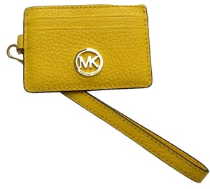 Michael Kors Michael Kors Fulton Metro Pass Card Case Citrus Yellow Pebbled Leather