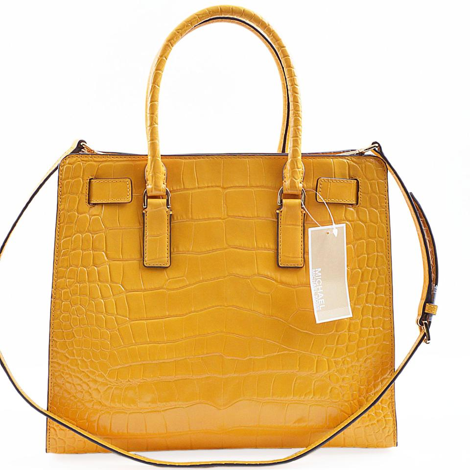 cc0491311655 Michael Kors Dillon Large Ns (A3559c) Sun Yellow Croc Embossed Leather Tote  - Tradesy