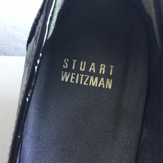 Stuart Weitzman Leather European Spanish Loafers Tassels Heels Designer Padding Office Night Out Day Pants Dress Jeans Suit Made in Spain Black Patent with Chrome Buckles Pumps