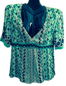 Elie Tahari Silk Hand Stitching Oval Patterns Flows Top green w/blacks & taupe