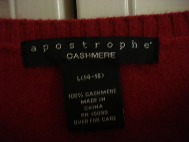 Apostrophe Red L Short Sleeves 100%cashmere Sweater