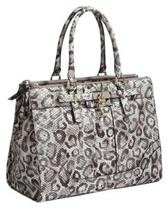 Guess White Gray Satchel in Snow Leopard
