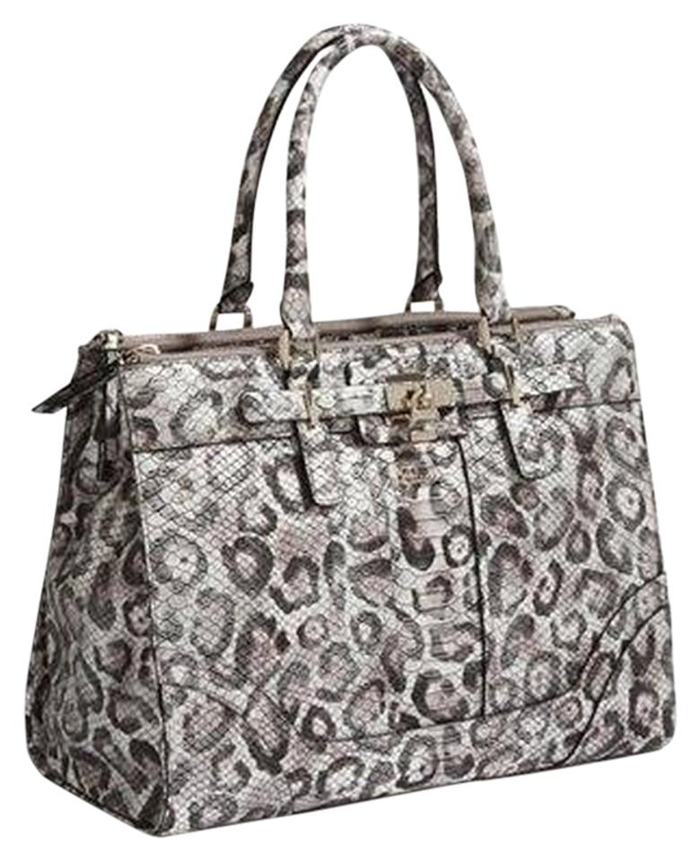 Guess White Handbag Satchel In Snow Leopard