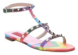 Valentino Leather Red Pink Multi color chevron 36(EU) NWT Sandals