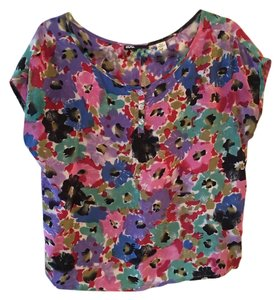 BDG Floral Silk T-shirt Bright Top Multi color