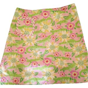 Lilly Pulitzer Pink Green White Skirt Ponk green