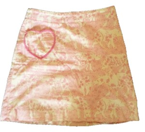 Lilly Pulitzer White Lilly Pattern A Line Skirt Pink