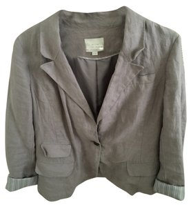 Ann Taylor LOFT Linen Jacket Gray Taupe and Silver Blazer